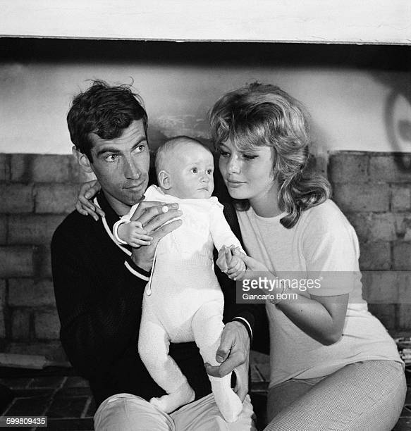 French Director Roger Vadim And Wife Danish Actress Annette Stroyberg With Their Daughter Nathalie Vadim In Paris France Circa 1960