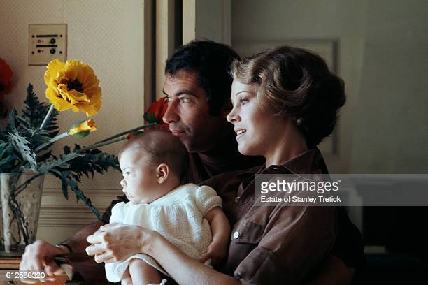 French director screenwriter and producer Roger Vadim with his wife American actress former model and political activist Jane Fonda and their newborn...