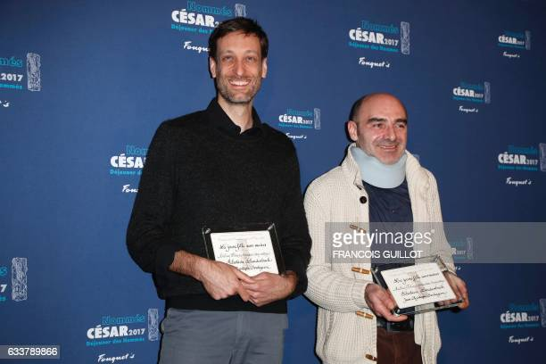 French director Sebastien Laudenbach and producer JeanChristophe Soulageon nominated in the Best animated movie for 'La jeune fille sans mains' pose...
