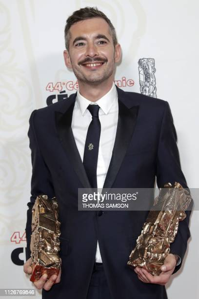 French director Xavier Legrand poses with his Best film award and Best Original Screenplay award for 'Jusqu'a la garde' at the end of the 44th...