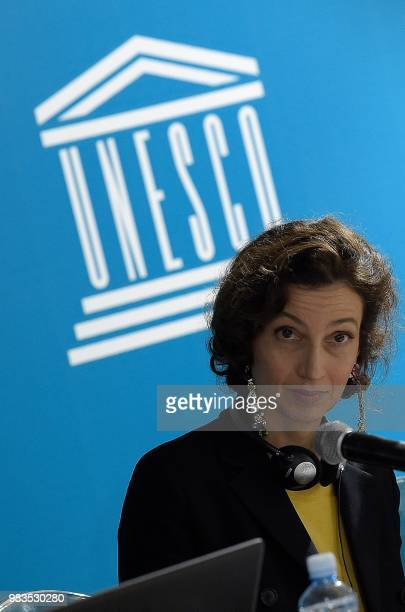 French DirectorGeneral of United Nations Educational Scientific and Cultural Organization Audrey Azoulay speaks during a press conference on the...