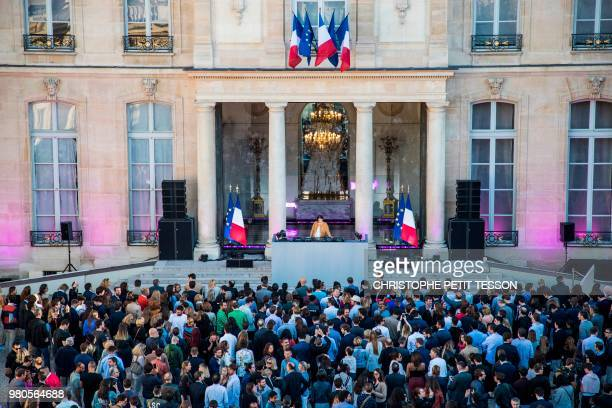French DJ and producer Chloé Thévenin aka DJ Chloe performs during the annual 'Fete de la Musique' in the courtyard of the Elysee Palace in Paris on...