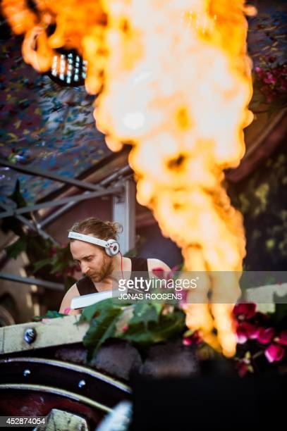 French DJ David Guetta performs during the third day of the second weekend of the Tomorrowland music festival in Boom Belgium on July 27 2014 The...