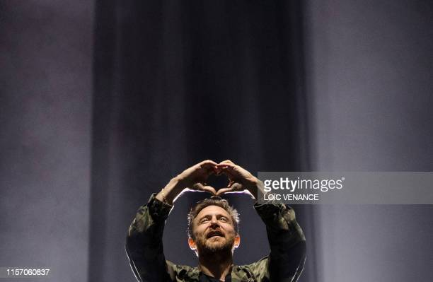 TOPSHOT French DJ David Guetta performs during the Vieilles Charrues music festival on July 21 2019 in CarhaixPlouger western France