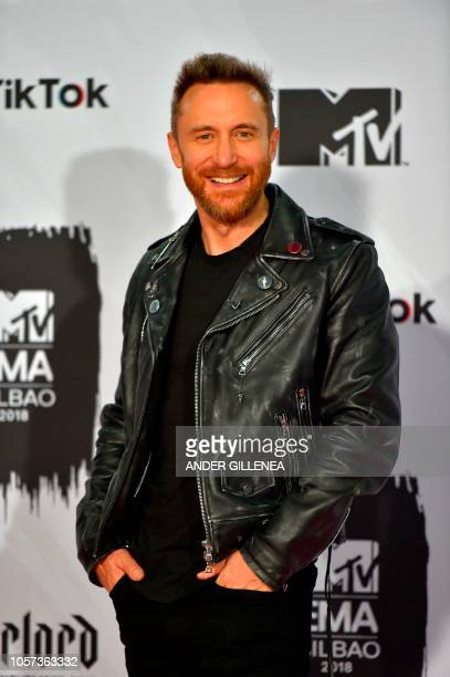 French DJ David Guetta poses backstage during the MTV Europe Music Awards at the Bizkaia Arena in the northern Spanish city of Bilbao on November 4...