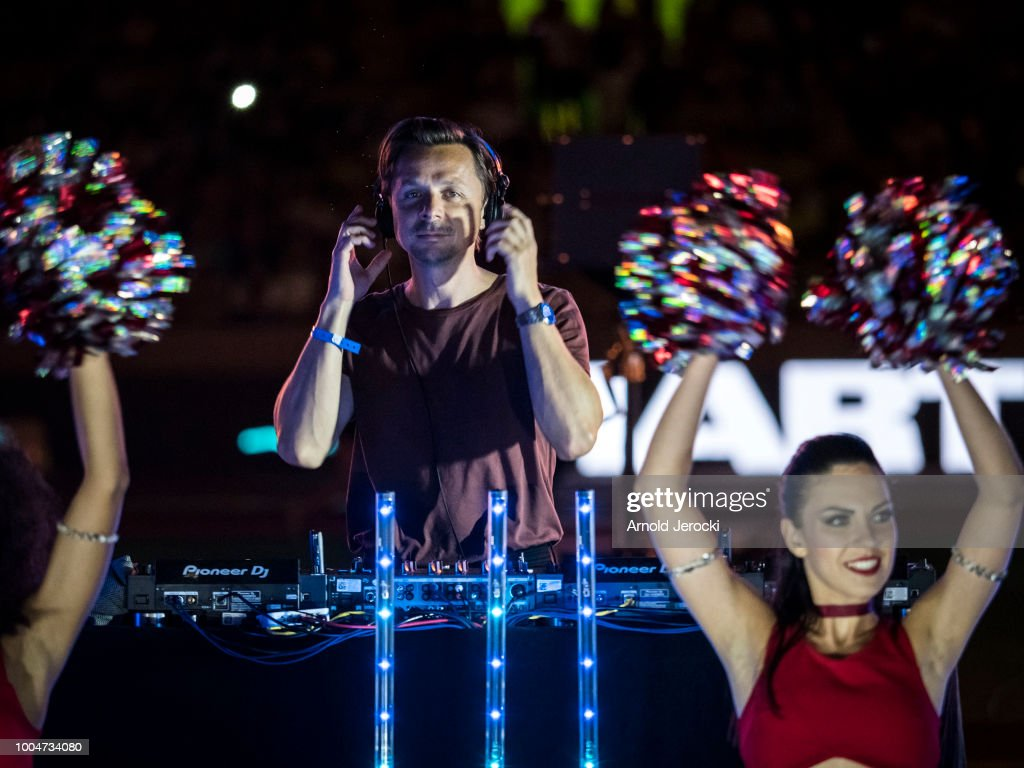 French DJ Martin Solveig performs during the closing ceremony at the IAAF Diamond League athletics 'Herculis' meeting at The Stade Louis II on July 20, 2018 in Monaco, Monaco.