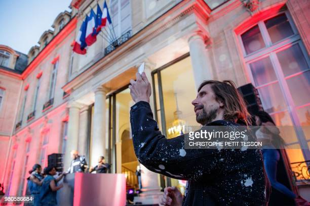 French Dj Pedro Winter attends the 'Fete de la Musique' the music day celebration in the courtyard of the Elysee Palace in Paris on June 2018 June 21...