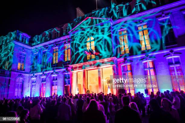 French DJ Pedro Winter performs during the 'Fete de la Musique' the music day celebration in the courtyard of the Elysee Palace in Paris on June 21...