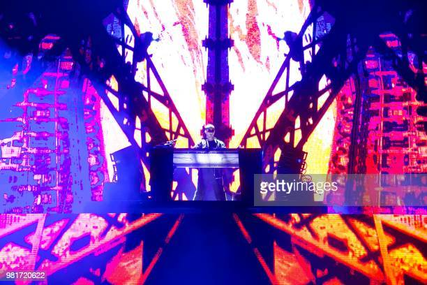 French DJ Snake performs during a concert at the Solidays music festival on June 22, 2018 at the hippodrome de Longchamp in Paris.