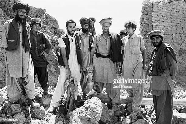 French doctor Bernard Kouchner in Wardak Province Afghanistan with the team of workers from the humanitarian aid organization he created Medecins du...