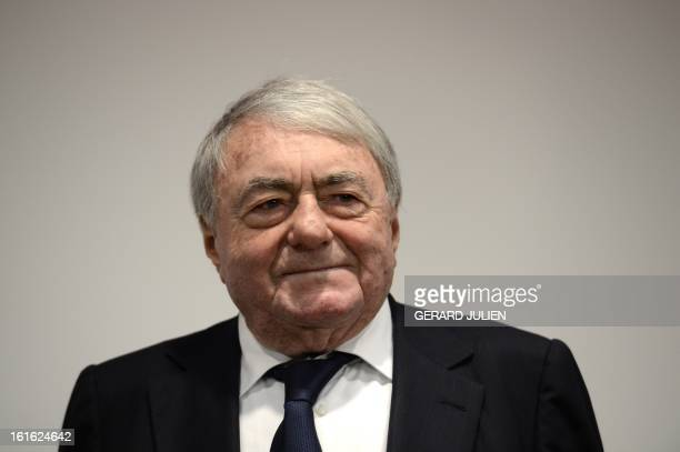 French documentary filmmaker and producer Claude Lanzmann attends a conference debat at the cinema museum Filmhaus on February 13 2013 in Berlin...