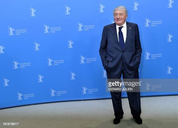 French documentary filmmaker and producer Claude Lanzmann poses during a photocall organised for his honorary Golden Bear on February 14 during the...