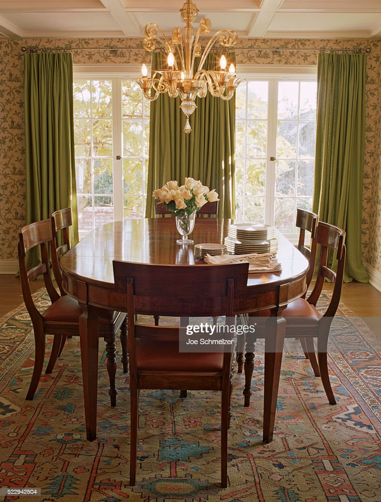 French Doors In Formal Dining Room Stock Photo