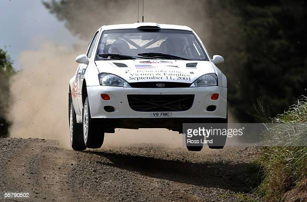 French driver Francois Delecour in action in his Ford Focus RS WRC in action at Te Hutewai near Raglan during special stage 4 on day one of the...