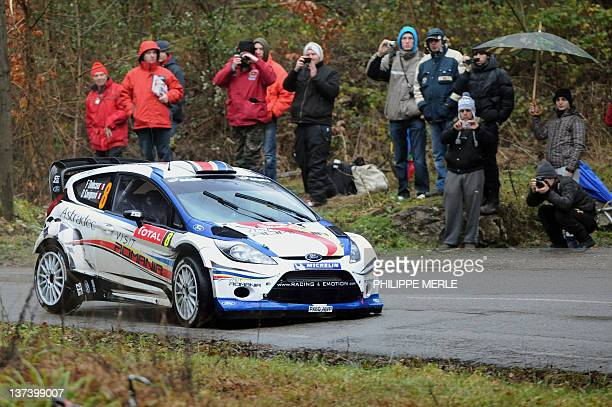 French driver François Delecour steers his Ford Fiesta on January 20 2012 in Bouvante southeastern France during the eleventh stage of the MonteCarlo...