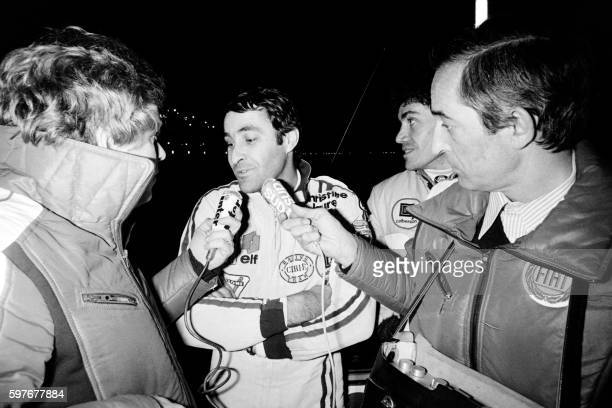 French driver Guy Fréquelin flanked by his co-pilot Jacques Delaval speaks to the press, during the 45th Monte-Carlo Rally on January 27, 1978. / AFP...
