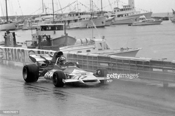French driver JeanPierre Beltoise steers his BRM on his way to winning the Monaco Formula One Grand Prix on May 14 1972 Beltoise beat Belgian Ferrari...