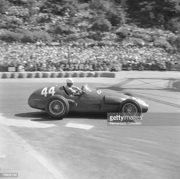 French driver Maurice Trintignant in the Ferrari 625/F1 rounding the Gasworks Hairpin on his way to an unexpected victory at the Monaco Grand Prix...