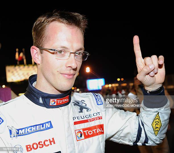 French driver Sebastien Bourdais gestures on June 10 2010 in Le Mans western France during the last qualifiying practice session of the 78th edition...