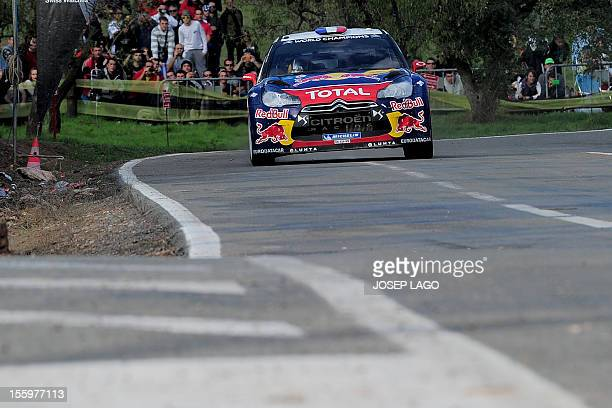 French driver Sebastien Loeb and codriver Daniel Elena drive their Citroen DS 3 WRC during the second stage of the 48th Rally of Catalonia in El...