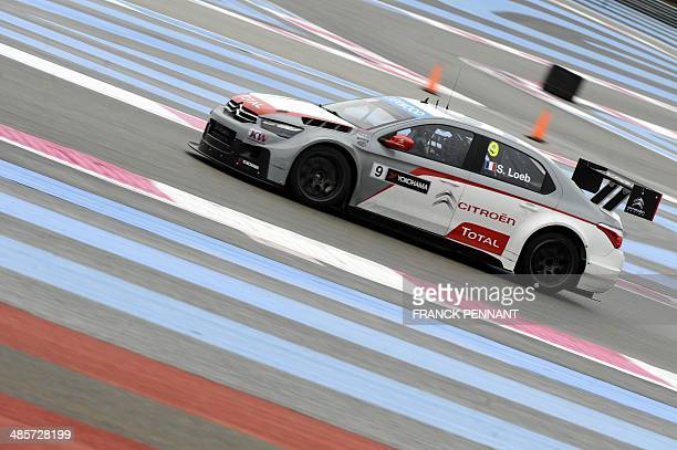 French driver Sebastien Loeb competes during the first race of the FIA World Touring Car Championship on April 20, 2014 in Le Castellet, southern...