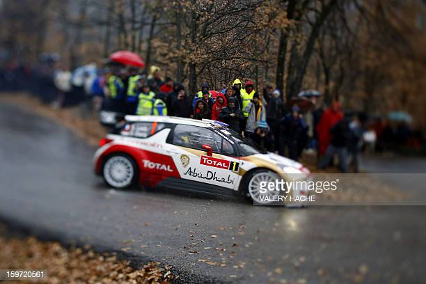 French driver Sebastien Loeb drives his Citroen DS3 during the 15th special stage of the MonteCarlo rallye the opening stage of the World Rally...