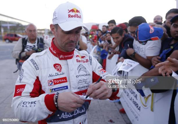 French driver Sebastien Loeb signs autographs for fans during the second day of the 2018 FIA World Rally Championship in Leon Guanajuato State Mexico...
