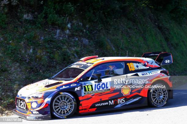 French driver Sebastien Loeb steers his Hyundai Shell Mobis WRT during the shakedown of the Tour de Corse, part of the WRC world rally championship...
