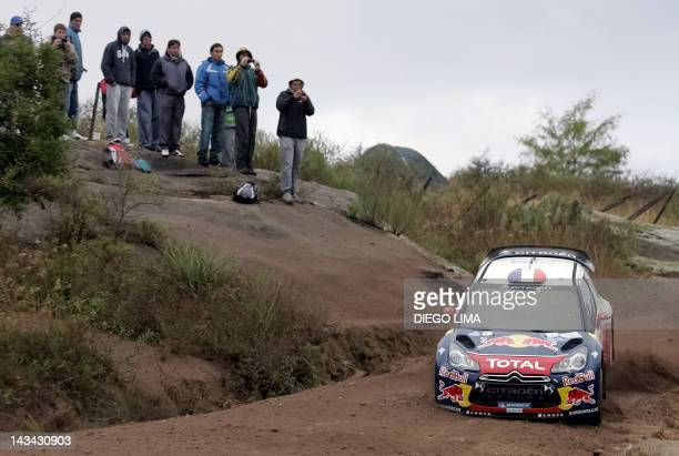 French driver Sebastien Loeb with codriver Daniel Elena from Monaco steers his Citroen DS3 WRC during the free practice stage of the WRC Argentina...