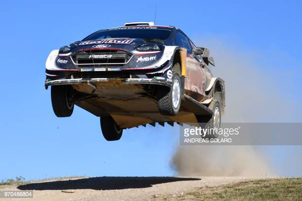 French driver Sebastien Ogier and codriver Julien Ingrassia drive their Ford Fiesta WRC during the Micky's Jumps at Monte Lerno on the third day of...