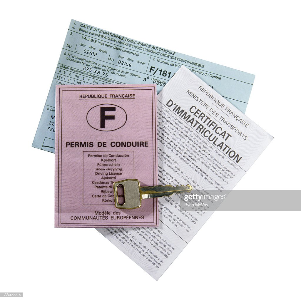 French Driving License and Insurance Papers : Stock Photo