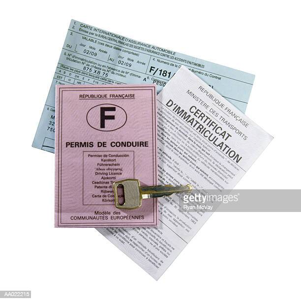 French Driving License and Insurance Papers
