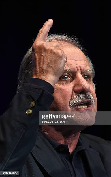 "French Ecologist MP and Mayor of Begles Noel Mamere gestures during a speech in Montpellier on November 12 during a meeting of the ""New World"" list,..."