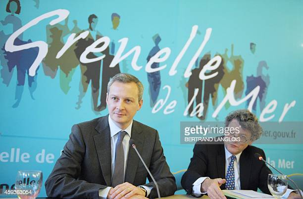 French Ecology and sustainable development minister JeanLouis Borloo Agriculture Food and Fisheries minister Bruno le Maire give a press conference...