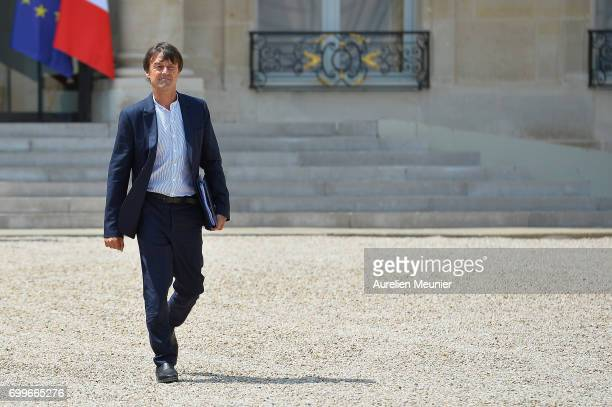 French Ecology minister Nicolas Hulot leaves the Elysee Palace after the weekly cabinet meeting with French President Emmanuel Macron on June 22 2017...