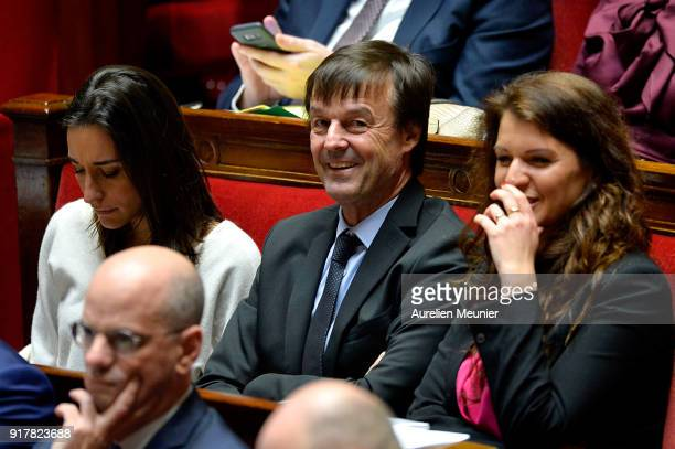 French Ecology Minister Nicolas Hulot reacts as Ministers answer deputies questions during the weekly session of questions to the government at...