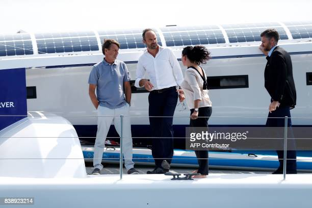 French Ecology Minister Nicolas Hulot the director of the French Alternative Energies and Atomic Energy Commission Florence Lambert and Prime...