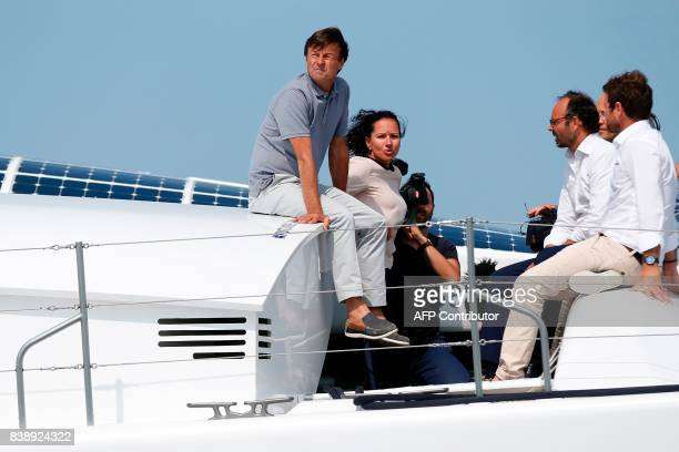 French Ecology Minister Nicolas Hulot the director of the French Alternative Energies and Atomic Energy Commission Florence Lambert Prime Minister...