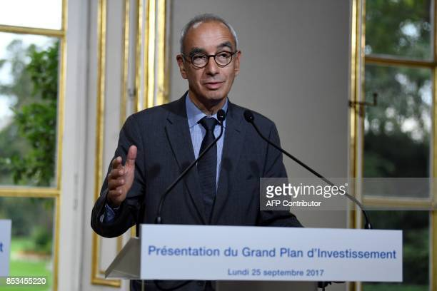 French economist Jean PisaniFerry speaks following his report on France's Grand Investment Plan for 20182022 on September 25 2017 at the Hotel...