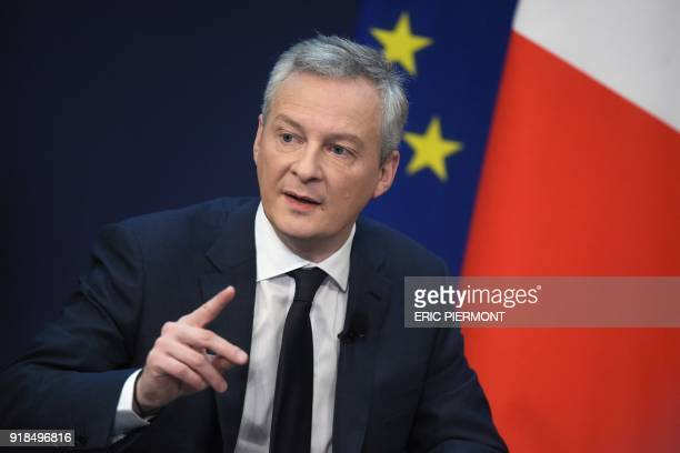 French Economy and Finance Minister Bruno Le Maire addresses a conference themed 'Transforming the French economy and deepening its integration in...