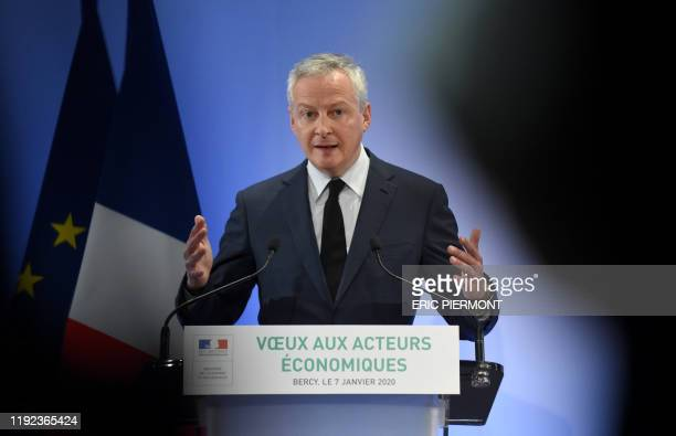 French Economy and Finance Minister Bruno Le Maire addresses his season's greetings at the Economy Ministry in Paris on January 7 2020