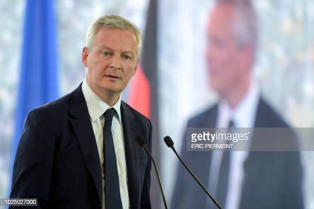 French Economy and Finance Minister Bruno Le Maire addresses the second day of the annual employers' association Medef's summer meeting in...