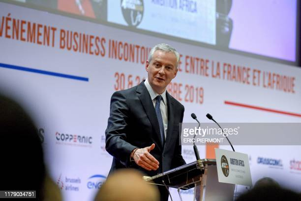 French Economy and Finance Minister Bruno Le Maire addresses the opening session of the conference Invest for Growth in Africa organised by French...