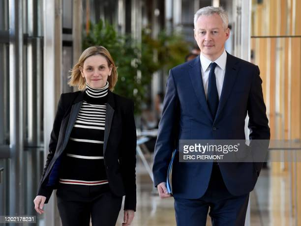French Economy and Finance Minister Bruno Le Maire and French Junior Minister for Economy and Finance Agnes PannierRunacher arrive to attend a...