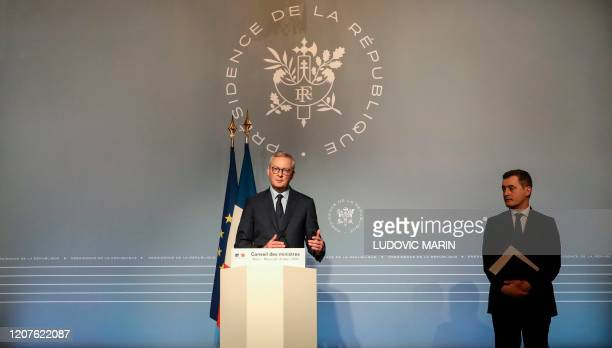 French Economy and Finance Minister Bruno Le Maire and French Minister of Public Action and Accounts Gerald Darmanin give a press conference after a...