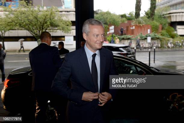 French Economy and Finance Minister Bruno Le Maire arrives for a meeting with Ford Blanquefort unionists on October 15 2018 in Bordeaux southwestern...
