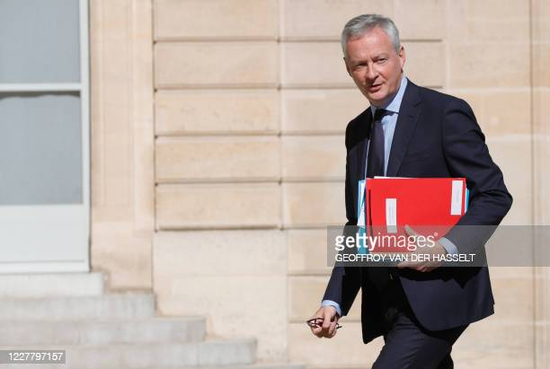French Economy and Finance Minister Bruno Le Maire arrives to attend the 5th meeting of the Council for environmental protection at the Elysee Palace...