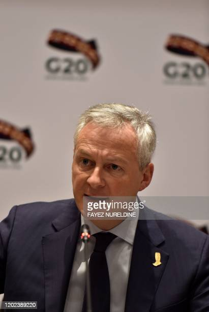 French Economy and Finance Minister Bruno Le Maire briefs journalists during the G20 finance ministers meeting in the Saudi capital Riyadh, on...