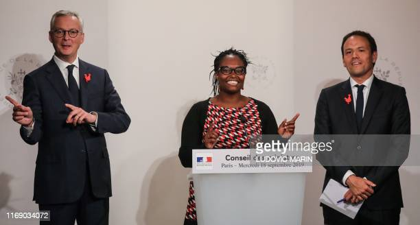 French Economy and Finance Minister Bruno Le Maire French Government's spokesperson Sibeth Ndiaye and French Junior Minister for Digital affairs...