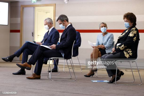 French Economy and Finance Minister Bruno Le Maire, French Health Minister Olivier Veran, French Labour Minister Elisabeth Borne and French Culture...